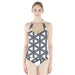 White Background White Texture Halter Swimsuit