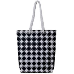 Square Diagonal Pattern Seamless Full Print Rope Handle Tote (small)