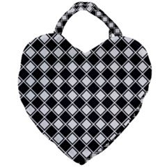 Square Diagonal Pattern Seamless Giant Heart Shaped Tote