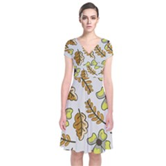 Design Decoration Decor Pattern Short Sleeve Front Wrap Dress