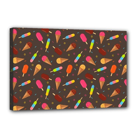 Ice Cream Pattern Seamless Canvas 18  X 12  (stretched)