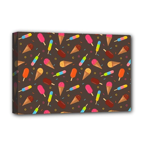 Ice Cream Pattern Seamless Deluxe Canvas 18  X 12  (stretched)