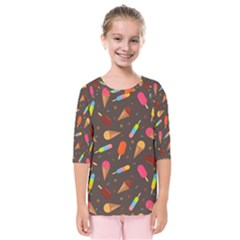 Ice Cream Pattern Seamless Kids  Quarter Sleeve Raglan Tee