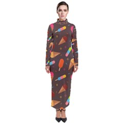 Ice Cream Pattern Seamless Turtleneck Maxi Dress by Simbadda