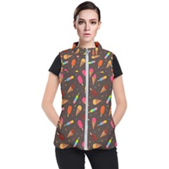 Ice Cream Pattern Seamless Women s Puffer Vest by Simbadda