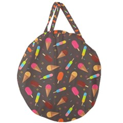 Ice Cream Pattern Seamless Giant Round Zipper Tote