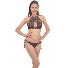 Ice Cream Pattern Seamless Cross Front Halter Bikini Set by Simbadda