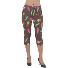 Ice Cream Pattern Seamless Lightweight Velour Capri Leggings