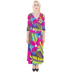 Design Decoration Decor Floral Pattern Quarter Sleeve Wrap Maxi Dress
