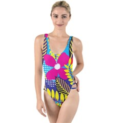 Design Decoration Decor Floral Pattern High Leg Strappy Swimsuit
