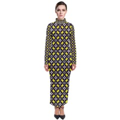 Flower Pattern Pattern Texture Turtleneck Maxi Dress