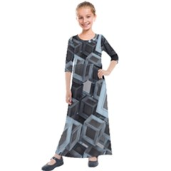 Cube Fantasy Square Shape Kids  Quarter Sleeve Maxi Dress by Simbadda