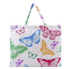 Butterfly Butterflies Vintage Zipper Large Tote Bag