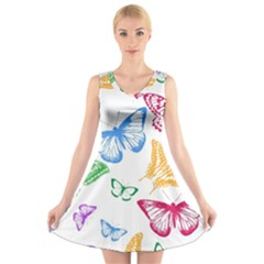 Butterfly Butterflies Vintage V Neck Sleeveless Dress