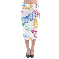 Butterfly Butterflies Vintage Midi Pencil Skirt