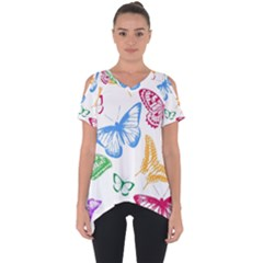 Butterfly Butterflies Vintage Cut Out Side Drop Tee