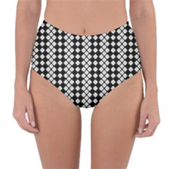 Black And White Texture Reversible High Waist Bikini Bottoms