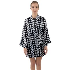 Black And White Texture Long Sleeve Kimono Robe