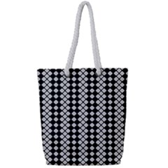 Black And White Texture Full Print Rope Handle Tote (small)
