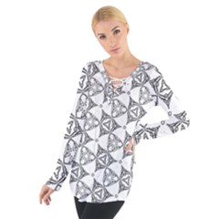 Black And White Pattern Tie Up Tee
