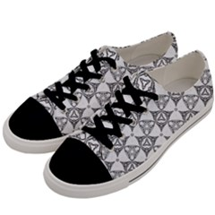 Black And White Pattern Men s Low Top Canvas Sneakers by Simbadda