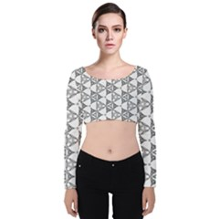 Black And White Pattern Velvet Long Sleeve Crop Top