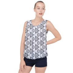 Black And White Pattern Bubble Hem Chiffon Tank Top