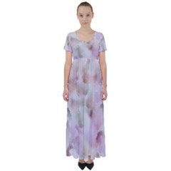 Watercolor Seamless Texture High Waist Short Sleeve Maxi Dress