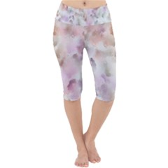 Watercolor Seamless Texture Lightweight Velour Cropped Yoga Leggings