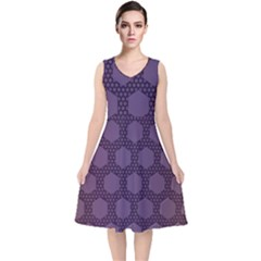 Hexagon Grid Geometric Hexagonal V Neck Midi Sleeveless Dress