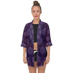 Hexagon Grid Geometric Hexagonal Open Front Chiffon Kimono