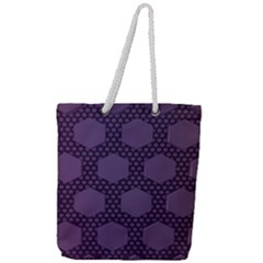 Hexagon Grid Geometric Hexagonal Full Print Rope Handle Tote (large)