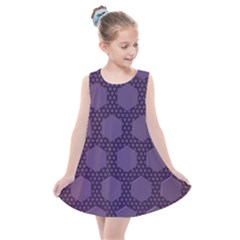 Hexagon Grid Geometric Hexagonal Kids  Summer Dress by Simbadda