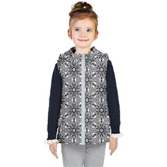 Black And White Pattern Kid s Hooded Puffer Vest