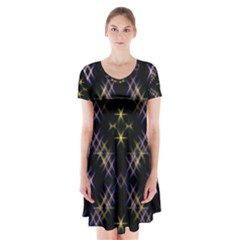 Seamless Background Abstract Vector Short Sleeve V Neck Flare Dress