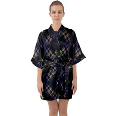 Seamless Background Abstract Vector Quarter Sleeve Kimono Robe