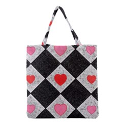 Diamonds Hearts Mosaic Pattern Grocery Tote Bag