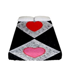Diamonds Hearts Mosaic Pattern Fitted Sheet (full/ Double Size)