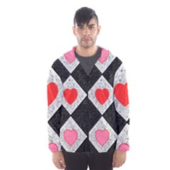 Diamonds Hearts Mosaic Pattern Hooded Windbreaker (men)