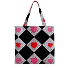 Diamonds Hearts Mosaic Pattern Zipper Grocery Tote Bag