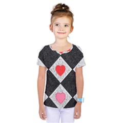 Diamonds Hearts Mosaic Pattern Kids  One Piece Tee