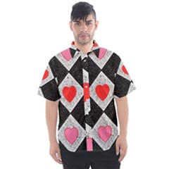 Diamonds Hearts Mosaic Pattern Men s Short Sleeve Shirt