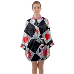 Diamonds Hearts Mosaic Pattern Long Sleeve Kimono Robe