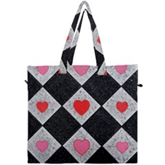 Diamonds Hearts Mosaic Pattern Canvas Travel Bag by Simbadda