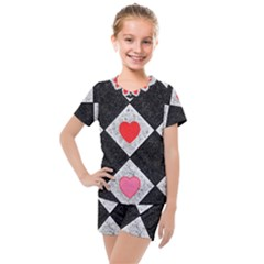 Diamonds Hearts Mosaic Pattern Kids  Mesh Tee And Shorts Set