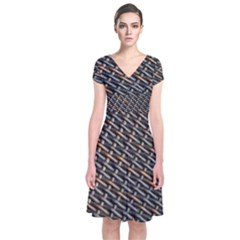 Rattan Wood Background Pattern Short Sleeve Front Wrap Dress