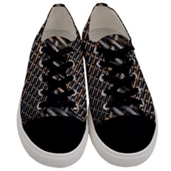 Rattan Wood Background Pattern Men s Low Top Canvas Sneakers