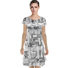 Black And White Background Wallpaper Pattern Cap Sleeve Nightdress