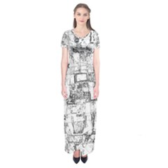 Black And White Background Wallpaper Pattern Short Sleeve Maxi Dress