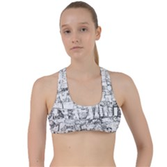 Black And White Background Wallpaper Pattern Criss Cross Racerback Sports Bra